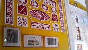 Artwork at Banglaore Palace, Bengaluru, India. BENGALURU, INDIA - FEBRUARY 20, 2017: Interior decoration of famous Bangalore Palace. It was private residence of Royalty Free Stock Photos