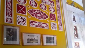 Artwork at Banglaore Palace, Bengaluru, India. BENGALURU, INDIA - FEBRUARY 20, 2017: Interior decoration of famous Bangalore Palace. It was private residence of Stock Photo