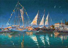 Artwork: Big yachts in Sochi. Author: Nikolay Sivenkov. The painting is exhibited at the present time in the art museum of Sochi Stock Images