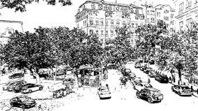 Artwork black and white drawing Andrew`s Descent illustration. Andrew`s Descent in Kiev. Ukraine - Artwork black and white drawing sketch vector illustration stock illustration