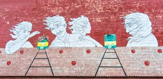 Artwork on brick wall. Texture background, art Royalty Free Stock Photo