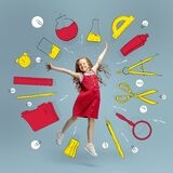Artwork. Conceptual image with little preschool age girl and drawned school supplies, notes, pen, brush and scissors on. Happy, funny school days. Conceptual