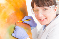 Artwork conservator at work Royalty Free Stock Photography