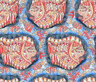 Artwork decorative fish. Seamless pattern of  artwork decorative ocean fish Royalty Free Stock Image