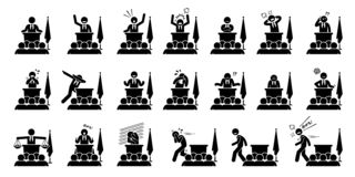 Politician, president, or prime minister actions, feelings, and emotions during his speech cliparts. Artwork depicts set of different poses and body languages stock illustration