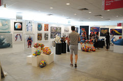 Artwork and displays At Singapore Affordable Art Fair 2017 Stock Photos