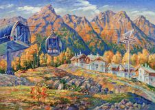 artwork Elevador de esqui na estância de esqui de Rosa Khutor foto de stock royalty free