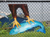 Artwork at a fish hatchery in the yukon territories Stock Photos