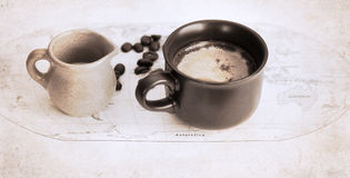 Artwork  in grunge style,  coffee Stock Image