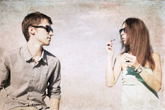 Artwork  in grunge style,  girl and boy Royalty Free Stock Photo
