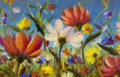 Red, yellow, blue, purple abstract flowers illustration. Macro impasto painting. Palette knife artwork. Impressionism. Art. Artwork handmade abstract oil stock illustration