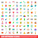 100 artwork icons set, cartoon style. 100 artwork icons set in cartoon style for any design vector illustration Royalty Free Stock Photos
