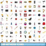 100 artwork icons set, cartoon style Stock Photo