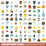 100 artwork icons set, flat style Stock Photography