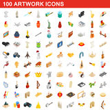100 artwork icons set, isometric 3d style. 100 artwork icons set in isometric 3d style for any design vector illustration vector illustration