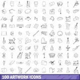100 artwork icons set, outline style. 100 artwork icons set in outline style for any design vector illustration Stock Illustration
