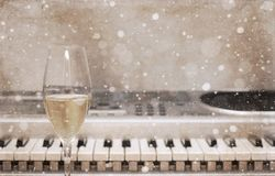 Artwork In Vintage Style, Champagne Glass, Pianoforte/ Snow Effect Stock Images