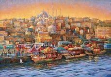 Artwork. Istanbul. Golden Horn Bay. Author: Nikolay Sivenkov. Royalty Free Stock Images