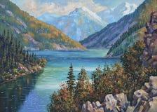 artwork Lago Kolsay, Cazaquistão Autor: Nikolay Sivenkov imagens de stock