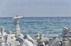 Artwork made from stones in perfect balance Royalty Free Stock Photos