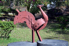 Artwork made by waste iron material. Hen - Artwork made by waste iron material in Bhopal, India royalty free stock photos