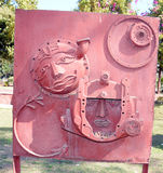 Artwork made by waste iron material. Human faces - Artwork made by waste iron material in Bhopal, India stock photos