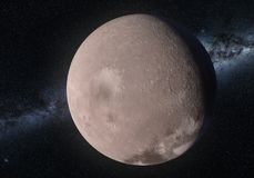 Artwork of Makemake dwarf planet in the Kuiper belt. This image is a concept of the Makemake dwarf planet in a precise and scientific artwork design.This is a 3d Royalty Free Stock Photo