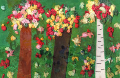 Artwork of a mixed forest made by a six years old child. Children's artwork of a mixed forest.  Genuine artwork by a six years old child Royalty Free Stock Images