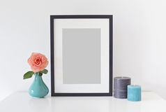 Artwork Mockup for prints. Styled stock photography; web, blog; black frame picture royalty free stock image
