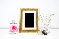 Artwork Mockup for prints. Styled stock photography; web, blog; golden frame picture royalty free stock images