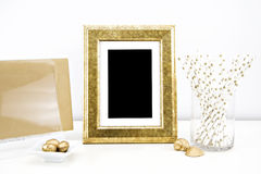 Artwork Mockup for prints. Styled stock photography; web, blog; golden frame picture stock images