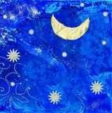 Artwork with moon and stars Royalty Free Stock Image