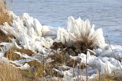 Artwork of nature at frozen IJsselmeer,Netherlands Stock Photos