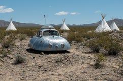 Artwork, Nipton, California. Alien vehicle and teepees, artwork and unusual lodging, Nipton, California stock image