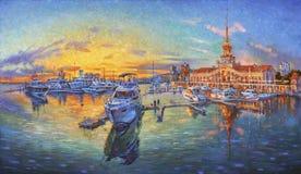 artwork Noite no porto Autor: Nikolay Sivenkov Foto de Stock Royalty Free