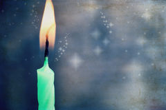 Artwork  in painting style, burning candle Stock Photos