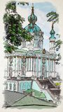 Artwork in painting style St. Andrew`s Church waterolor illustra royalty free illustration