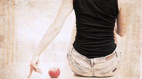 Artwork  in painting style,  woman and apple Stock Photo
