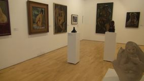 Artwork, Paintings, Museum Exhibits. Stock video of museum artwork stock video