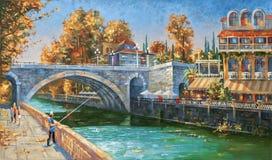artwork Pescador na terraplenagem do rio Sochi Foto de Stock Royalty Free