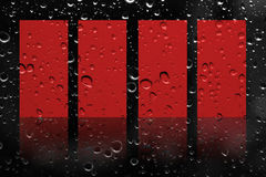 Artwork red label on rain drop background Royalty Free Stock Images