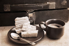Artwork  in retro style,  breakfast Royalty Free Stock Images