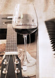 Artwork  in retro style,  music and wine Stock Photo