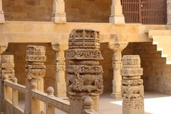 The artwork on the Sandstone pillar of Patwon Ki Haveli. royalty free stock image