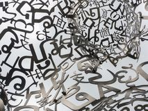 Artwork sculpture representing hope,beauty,unity and the symbolic nature of language by artist Jaume Plensa. BANGKOK, THAILAND. – On July 24, 2018 stock photo
