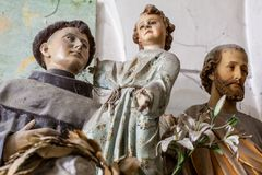 Artworks sculpture close up of saints at an exhibition in the artist studio Royalty Free Stock Photo