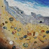 artwork Seashells na praia Autor: Nikolay Sivenkov Imagem de Stock