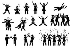 Female, girl, or woman celebration poses and gestures. Artwork shows girl celebrating by dabbing, raising hands, jumping up, hug, chest bump, high five vector illustration
