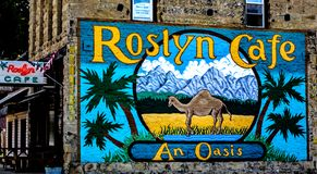 Artwork on the side of Roslyn cafe, WA. USA royalty free stock photos