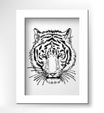 Artwork of tiger face portrait, head silhouette. Black sketch digital drawing with white minimalistic frame, vector illustration Stock Photography